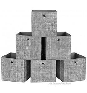 SONGMICS Aufbewahrungsboxen 30 x 30 x 30 cm faltbare Stoffboxen 6er Set Vliesstoff Würfel Aufbewahrungskörbe Organizer für Spielzeug Kleidung grau meliert RFB02LG-3