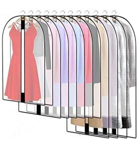 12 Stück Transparente Kleidersack Kleiderhüllen Abdeckung mit Reißverschluss Kleiderschutzhüllen Jacke Mantel Kleider Abendkleider Anzug Schutz Kleiderhulle Anzughulle Anzugsack Durchscheinende