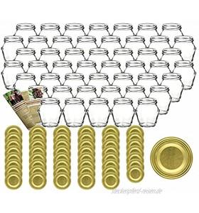 gouveo 48er Set Einmachgläser Henkelglas 212 ml incl. Drehverschluss Gold Vorratsgläser Marmeladengläser Einkochgläser Gold 48