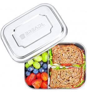 BREADL® Edelstahl Brotdose 1000ml Spülmaschinenfest BPA-frei Trennwand und 2 Fächer Lunchbox & Bento-Box für Kinder & Erwachsene für Schule Arbeit Uni Wandern